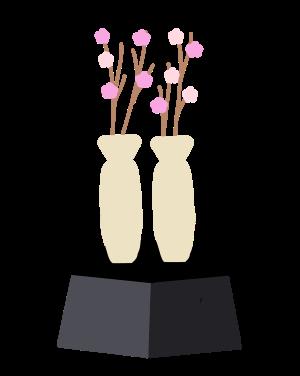 雛飾り 桃の花のイラスト たのさく